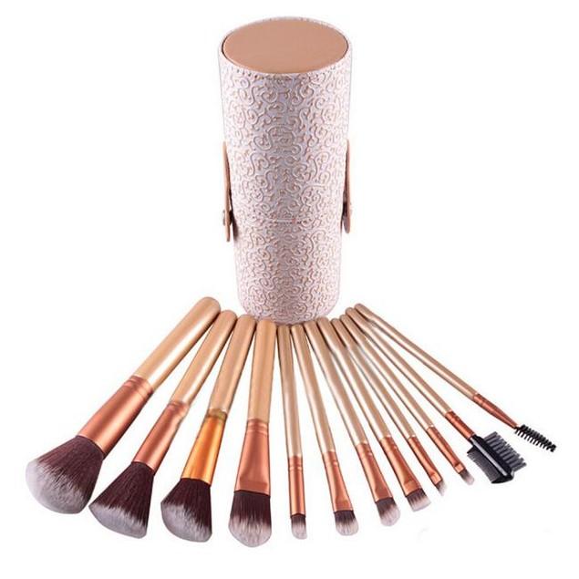12PCS Makeup Brushes Cosmetic Set Eyeshadow Brush Blusher Cosmetic Tools