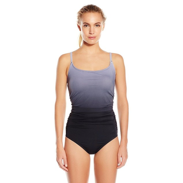 Speedo Women's Ombre Shirred One Piece Swimsuit, Black, SIZE 8