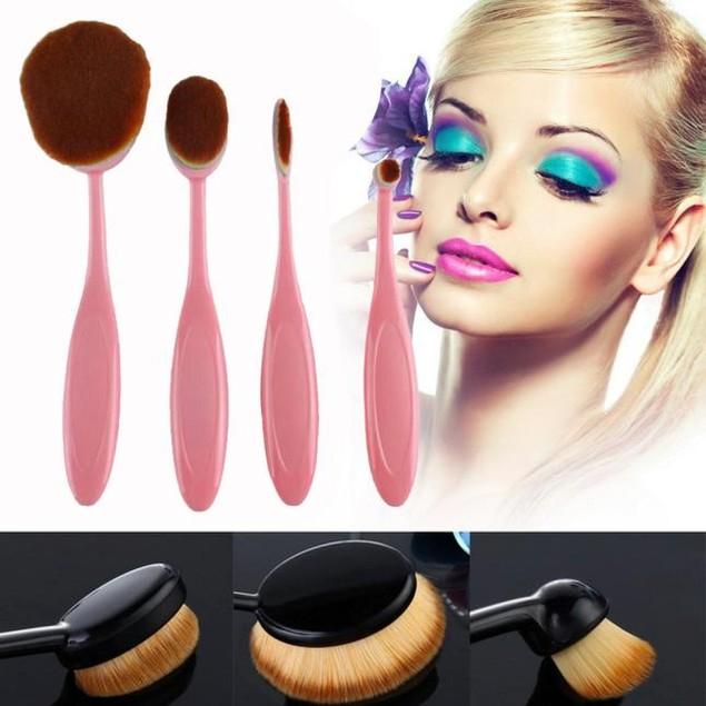 4Pcs Toothbrush Shape Makeup Brush Foundation Powder Brush