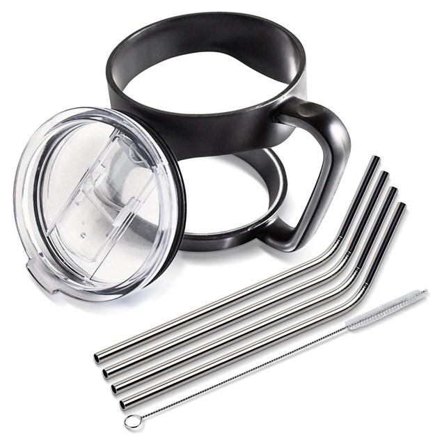 30oz Tumbler Mug Handle & Lid with 4 Steel Straws + Cleaning Brush