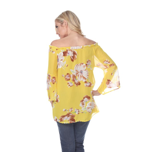 Sheer Floral Off-Shoulder Long Sleeve Blouse - 5 Colors