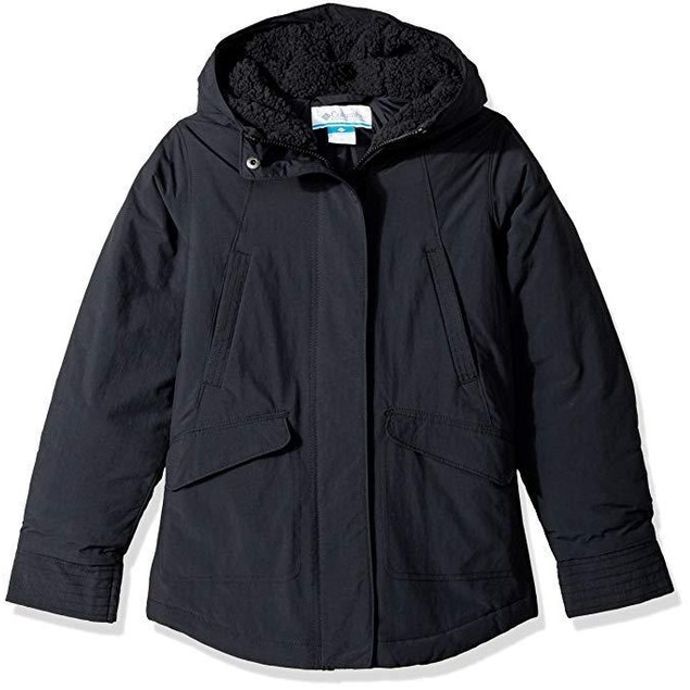 Columbia Girls' Big Frosted Jacket, Black,  Sz Large