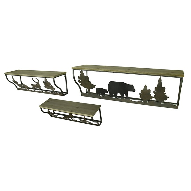 3 Piece Forest Animal Rustic Blackened Brown Wood Hanging Shelves