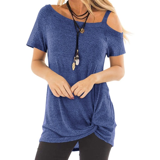 Cold Shoulder Strap Top with Side Twist
