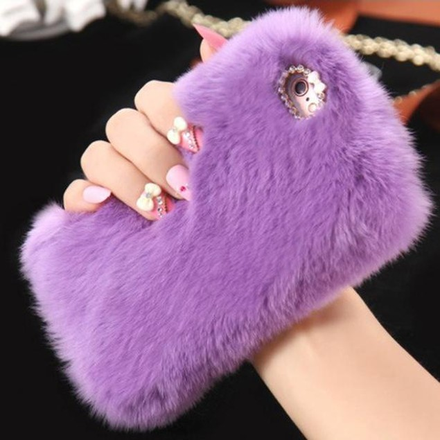 Fluffy Villi Fur Plush Wool Bling Case Cover Skin For iPhone 6/ 6S 4.7inch