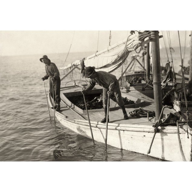 Hine: Oyster Fishing, 1911. /Ntwo Young Oyster Fisherman Aboard An Oyster B