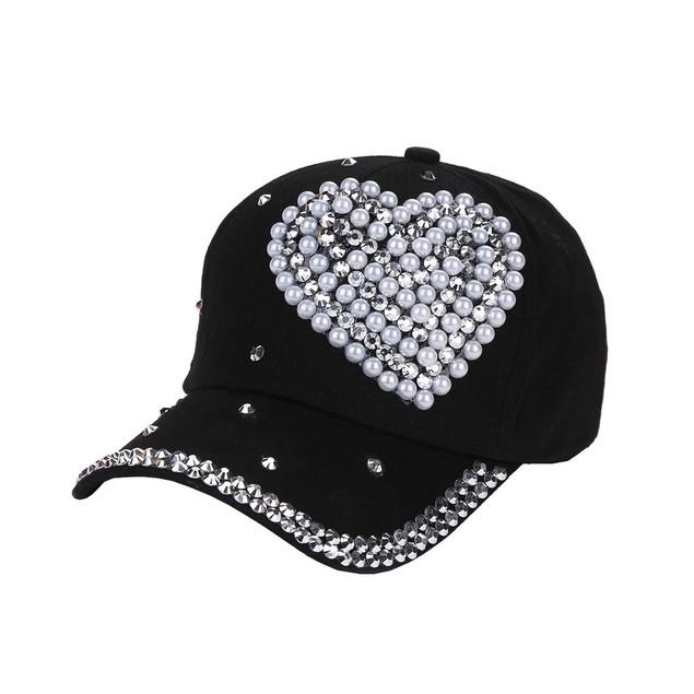 New Baseball Cap Rhinestone Love Shaped Boy Girls Snapback Hat  o