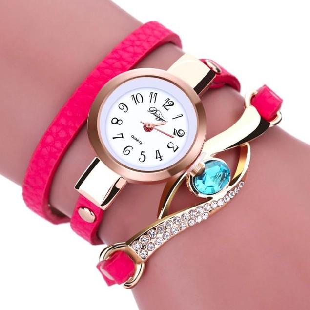 Fashion Women Diamond Wrap Around Leatheroid Quartz Wrist Watch
