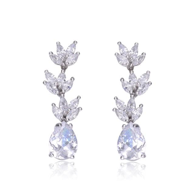 Sterling Silver Clear Cubic Zirconia Drop Earrings