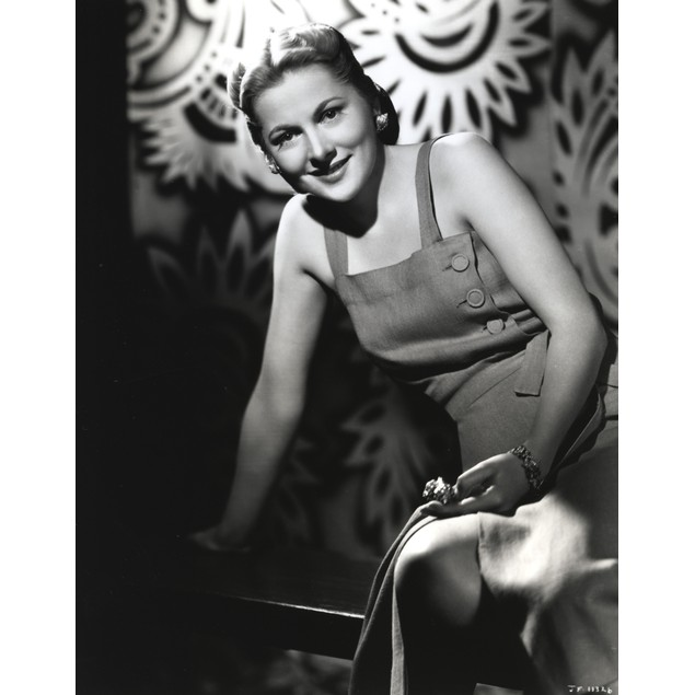 Joan Fontaine Leaning with One Hand, wearing a Tanktop Dress in Portrait Po
