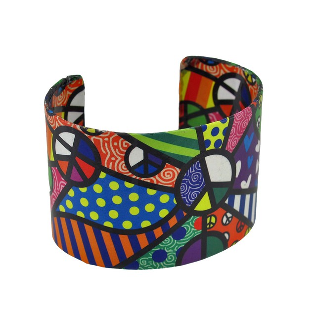 Colorful Paper Artwork Peace Themed Metal Cuff Womens Cuff Bracelets