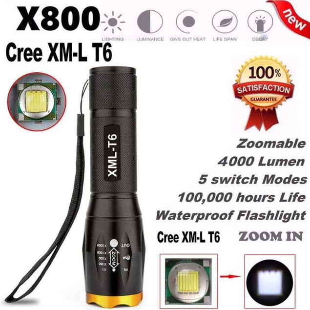 G700 X800 LED Tactical Military XM-L T6 Flashlight Torch Zoom