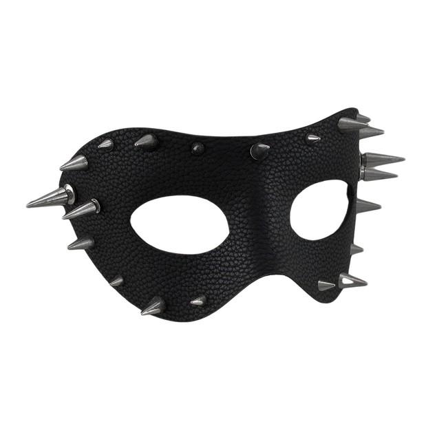 Black Textured Vinyl Spiked Half Face Mask Mens Costume Masks