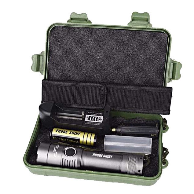 XML T6 LED Flashlight Torch Lamp + 18650 Battery + Charger + Case