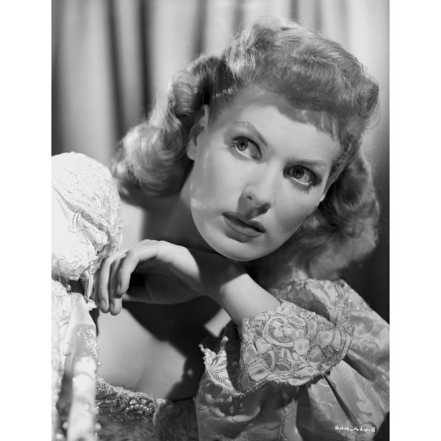 Maureen O'Hara Close Up Portrait wearing Floral Pointed Sleeves Poster