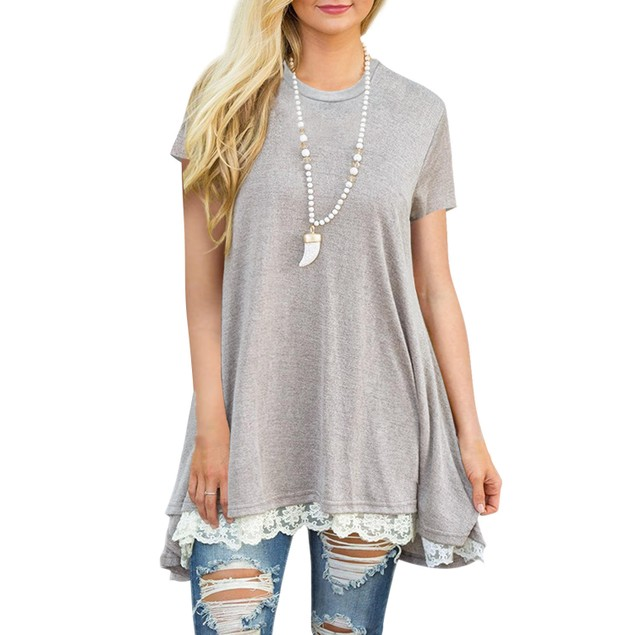 Long Lace Trim Top