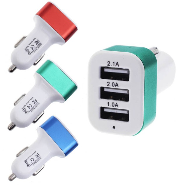 2-Pack Smartphone 3-Port USB Car Charger 12V 24V To 5V