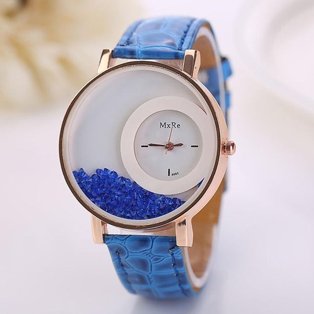 Woman Leather Quicksand Rhinestone Quartz Bracelet Wristwatch Watch