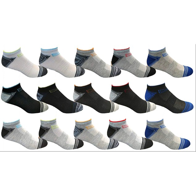 30 Pairs Men's Assorted Low Cut Socks