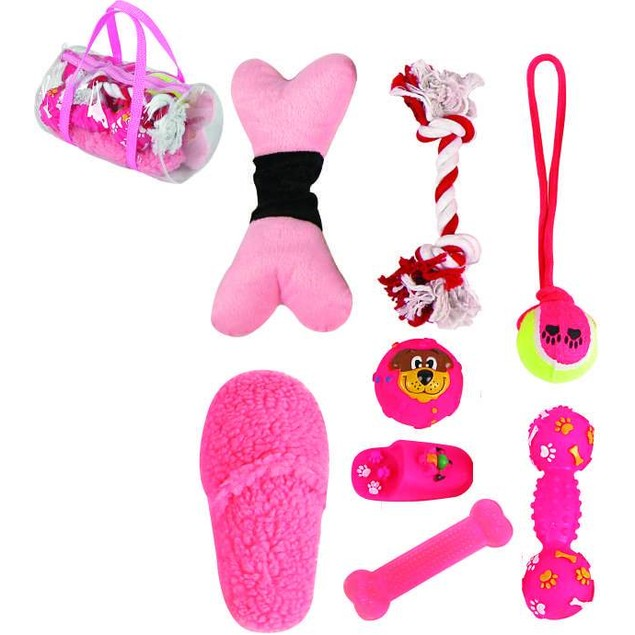 8 Piece Duffle Bag Pet Toy Set
