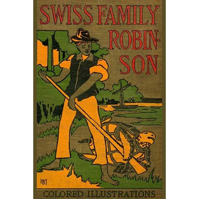 An original book cover illustration from Swiss Family Robinson published by