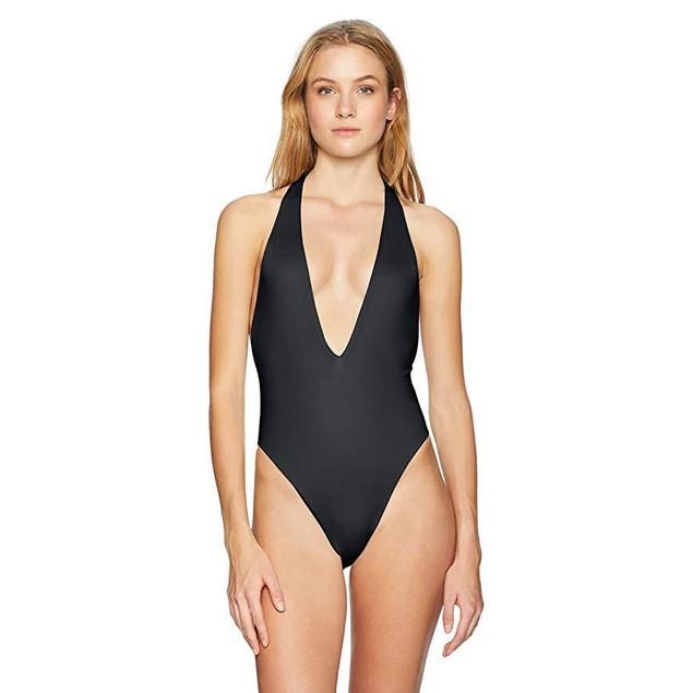 Bikini Lab Junior's High Leg One Piece Swimsuit, Black, Large