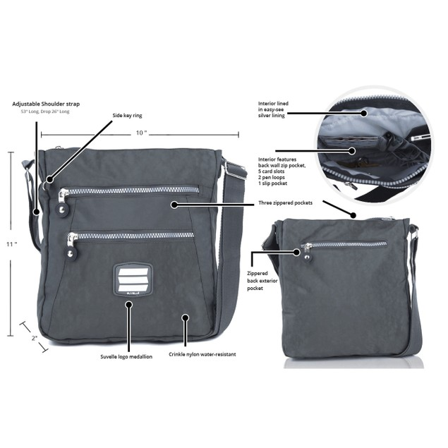 Suvelle Crinkle Nylon Go-Anywhere Crossbody Bag