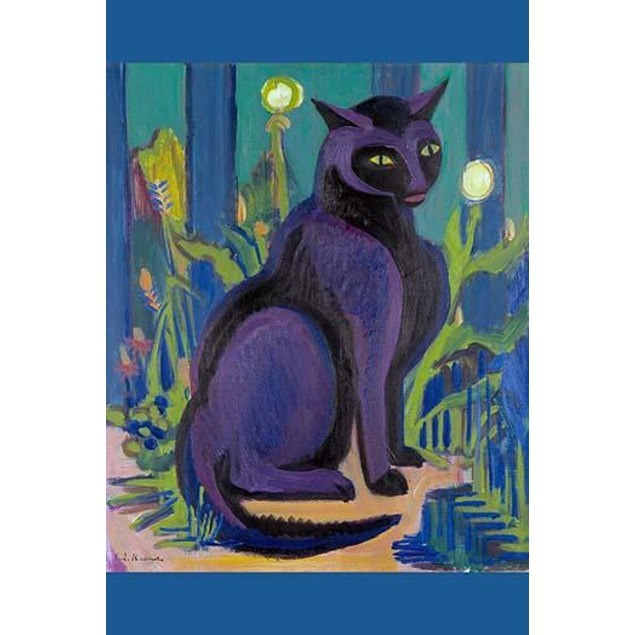 A purple cat sits on a table in front of a large bouquet of flowers. Poster