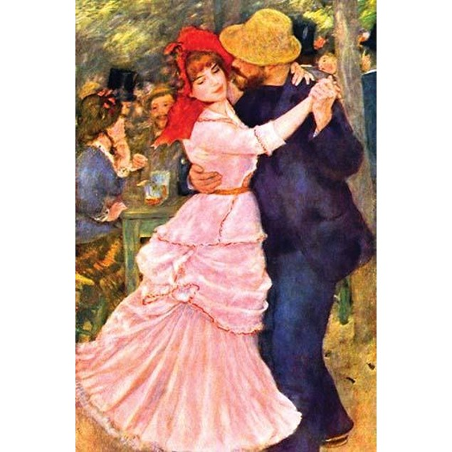 Man and women hold each other in embrace while they dance Poster
