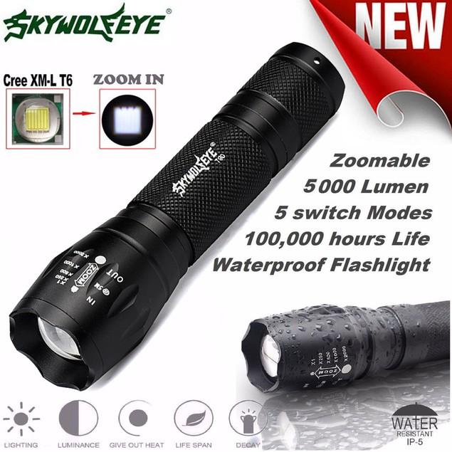Tactical LED Flashlight X800 Zoom Super Bright Military Grade