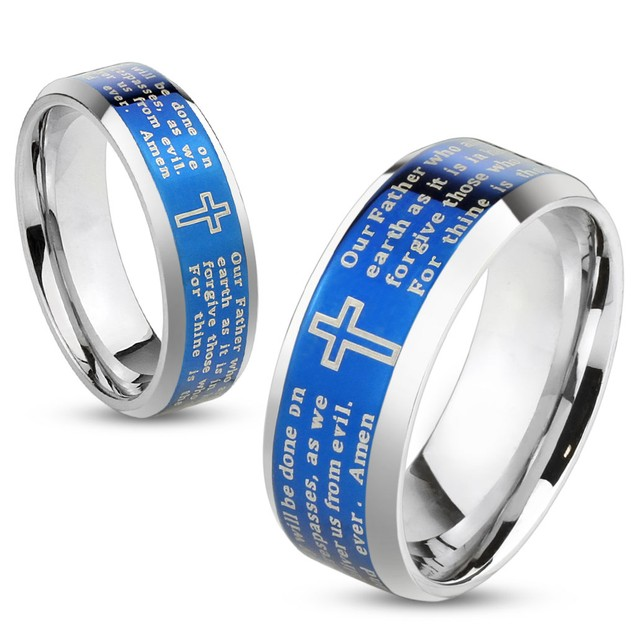 Lord's Prayer Blue IP Beveled Edge Stainless Steel Ring