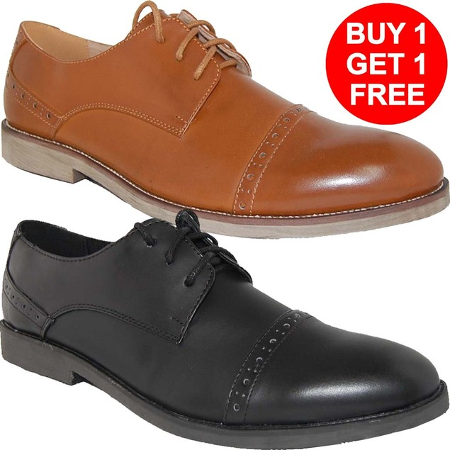 Krazy Shoes BOGO 1 Free Men's Pair   LEATHER LINED Lace-Up Oxfords