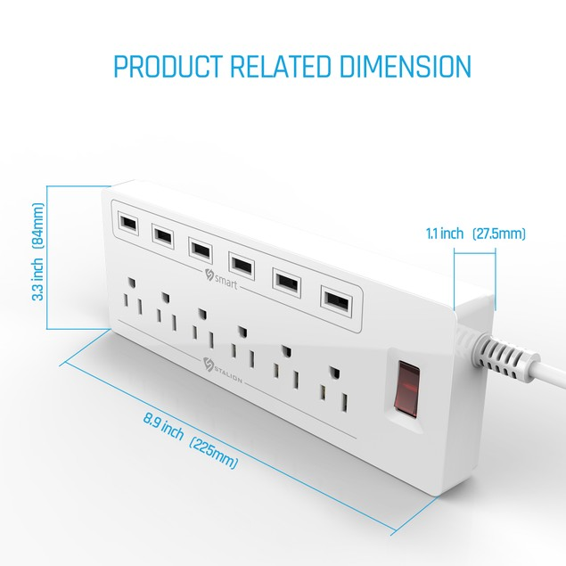 Stalion 6 Outlet Surge Protector Power Strip with 6 USB Charging Ports