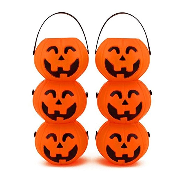 Small Mini Plastic Jack O Lantern Pumpkin Halloween