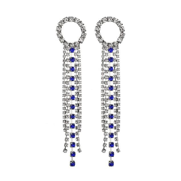 Rhinestone fringe shiny earrings