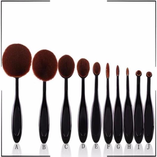 10PC/Set Toothbrush Eyebrow Foundation Eyeliner Lip Oval Brushes