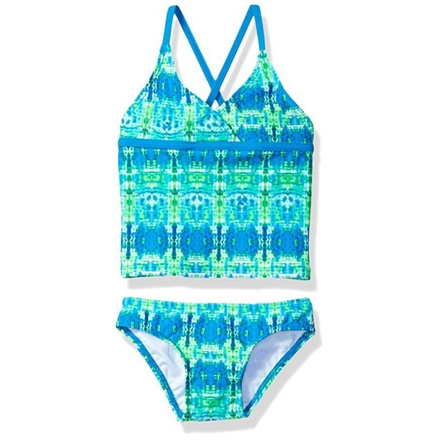 Kanu Surf Big Girls' Kayla Tankini Swimsuit, Blue/Green, 10
