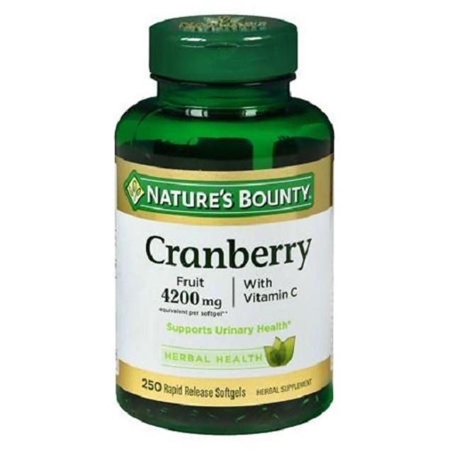 Nature's Bounty Cranberry Plus Vitamin C 4200mg 250 Softgels Bottle