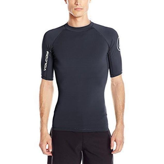 Volcom Men's Lido Solid Short Sleeve Rashguard, Black, SZ:  Medium