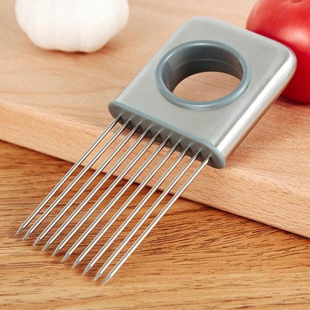 Onion Holder Vegetable Potato Cutter Slicer Gadget Stainless Steel Fork