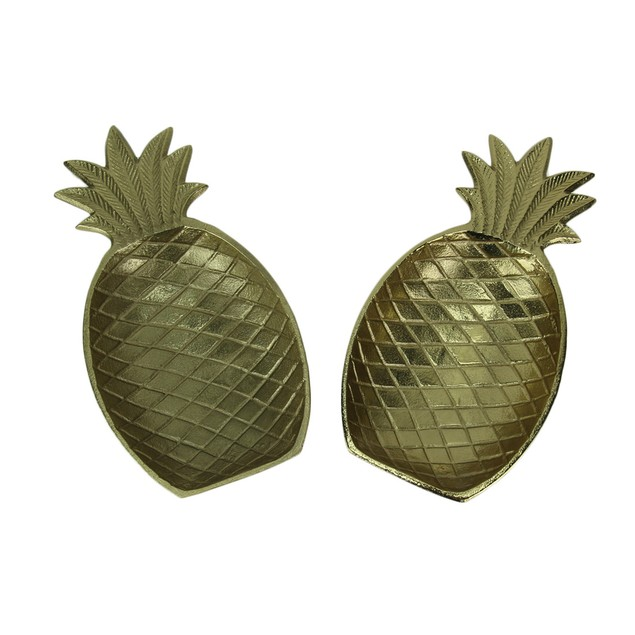 Golden Pineapple Decorative Metal Tray Set Of 2 Decorative Trays