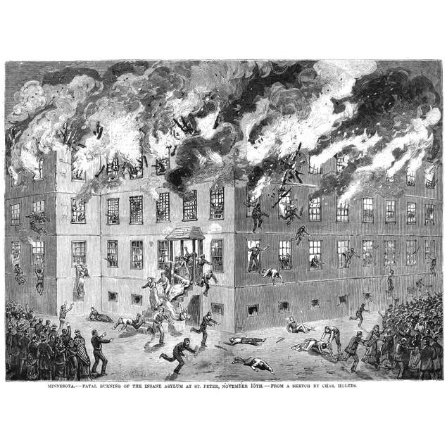 Minnesota Fire, 1880. /Nthe Fire At The Insane Asylum Of St. Peter, Minneso