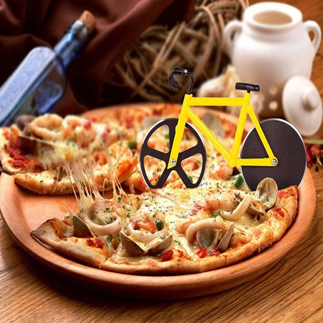Bicycle Pizza Cutter Dual Stainless Steel Bike Wheel Slicer Arts