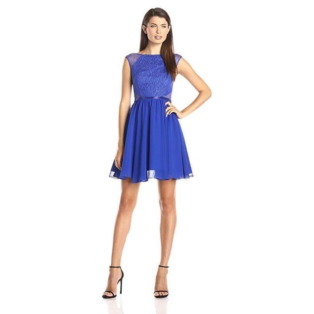 Aidan by Aidan Mattox Women's Lace and Chiffon Party Dress, Neptune,