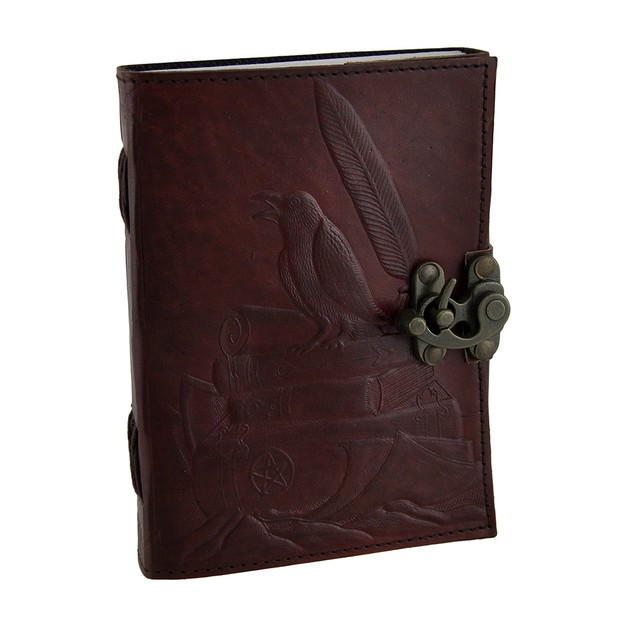 Raven's Perch 5X7 In. Embossed Leather Bound Art Sketchbooks And Notebooks