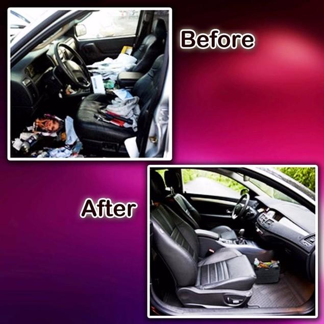 Zone Tech Car Trash Can Luxury Compact Litter Bin Leakproof Storage Bag
