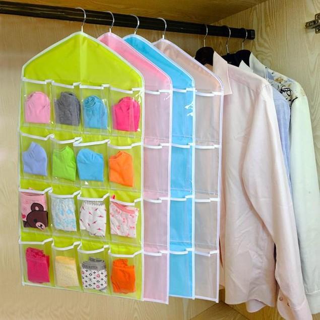 16-Pocket Hanging Closet Storage Organizer - 4 Colors