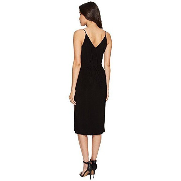 1.STATE Women's Spaghetti Strap V-Neck Dress Rich Black Dress SZ S
