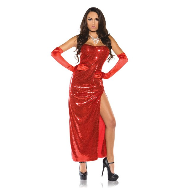 Jessica Rabbit Womens Costume Red Sexy Sequin Dress Who Framed Roger Adult