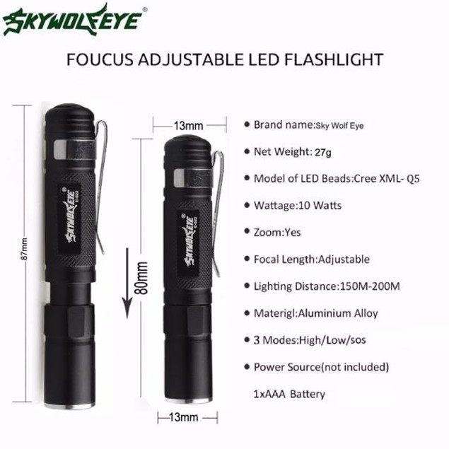Mini 3500LM Zoomable Q5 LED Flashlight 3 Mode Torch